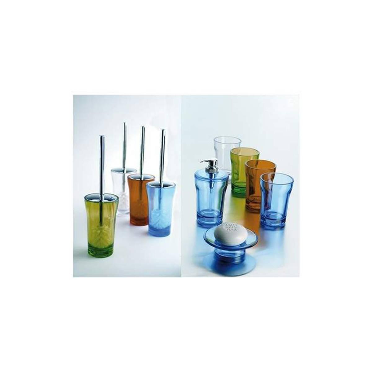 set accessori bagno da appoggio blu portasapone bicchiere portascopino dispenser