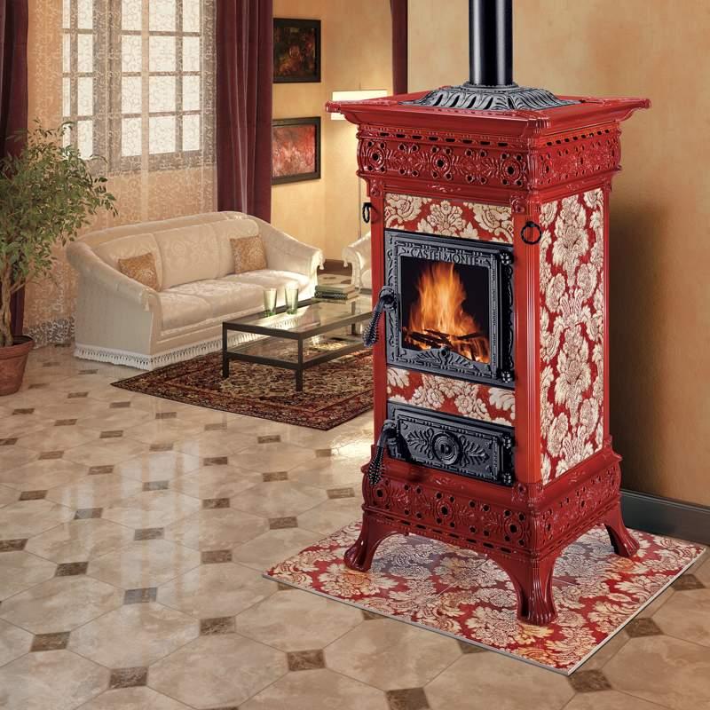 stufa legna castelmonte carlotta 9,3 kw rivestitmento con ceramiche