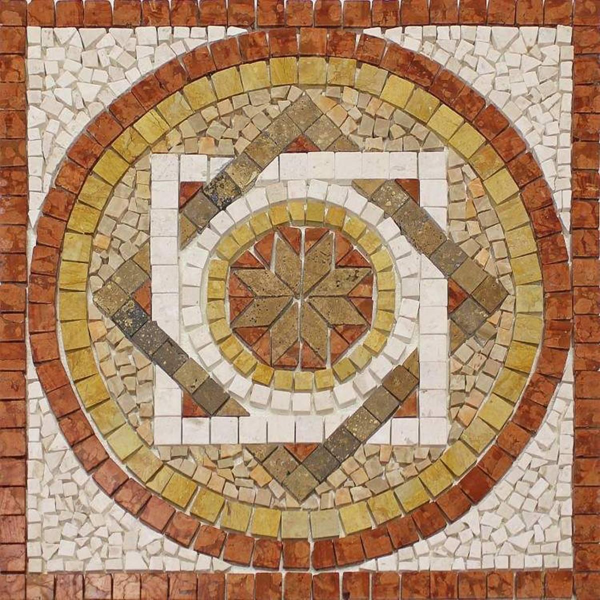 Rosoni rosone mosaico in marmo su rete per interni esterni 66x66 fantasi rosso quaranta store - Finto mosaico bagno ...