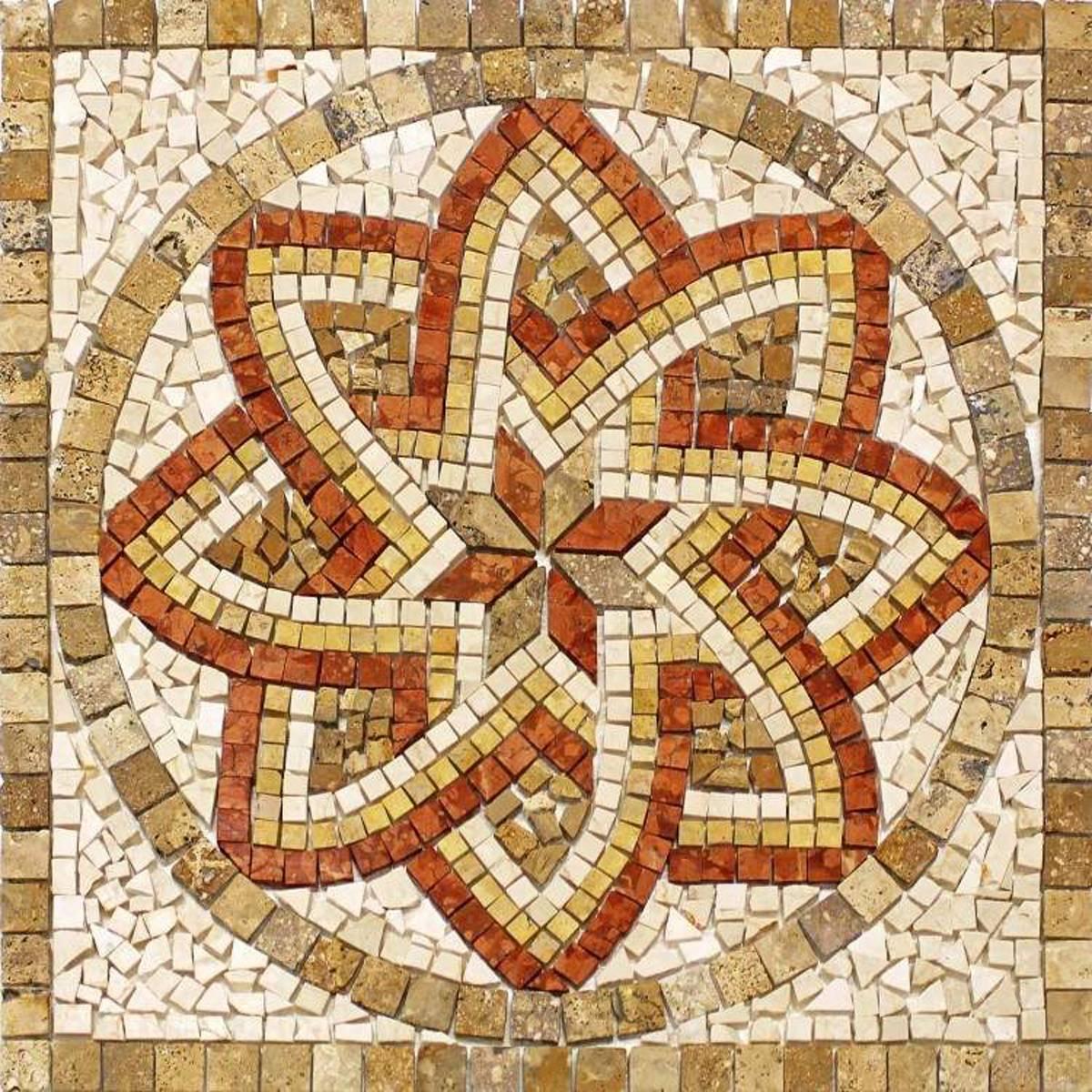 Rosoni rosone mosaico in marmo su rete per interni esterni 80x80 FLORIUM NOCE – Quaranta Store