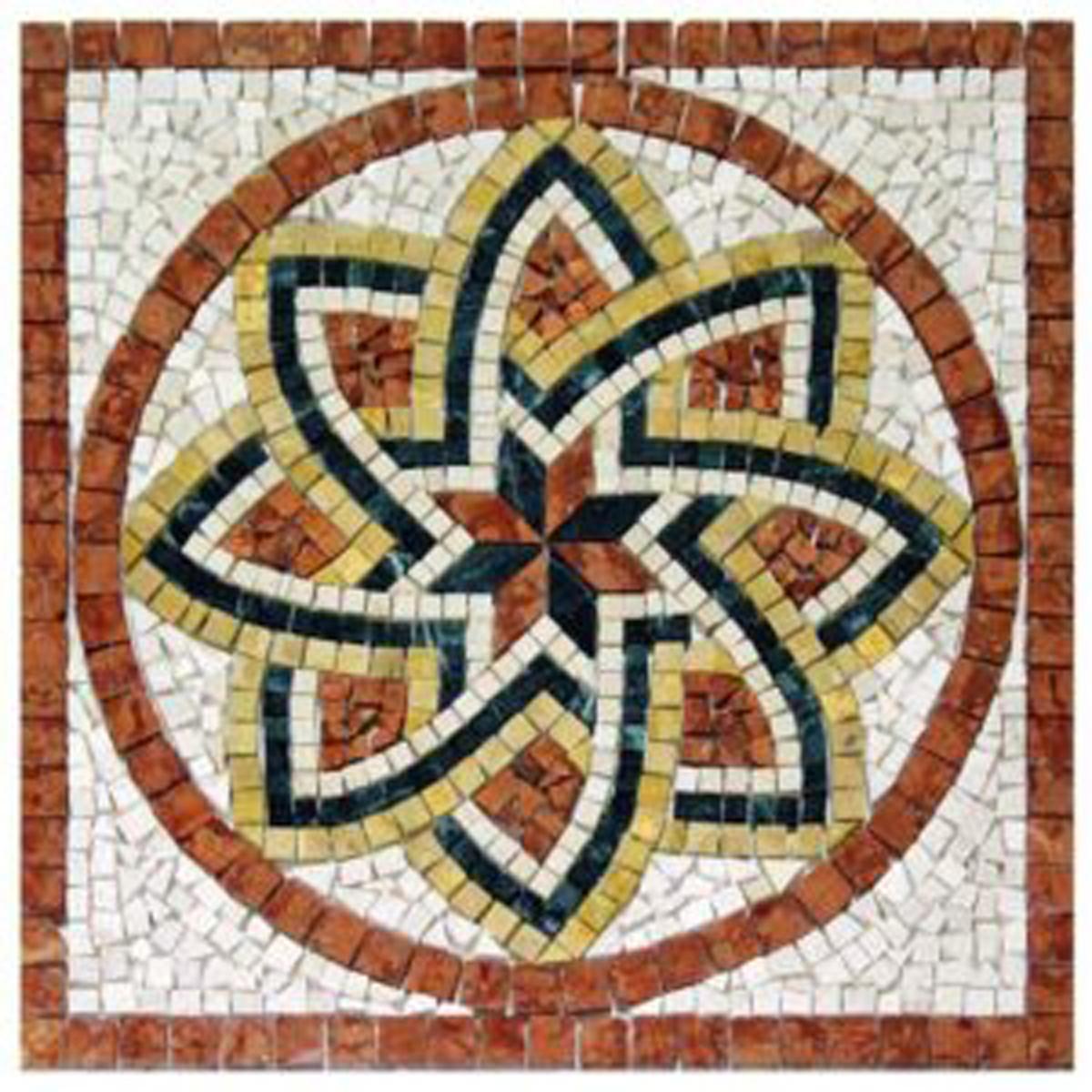 Rosoni rosone mosaico in marmo su rete per interni esterni 80x80 FLORIUM ROSSO