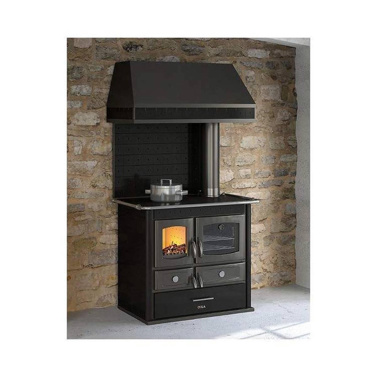 Cucina a legna anselmo cola helena rustic 8kw in acciaio verniciato e ceramica quaranta store - Cucina acciaio prezzi ...