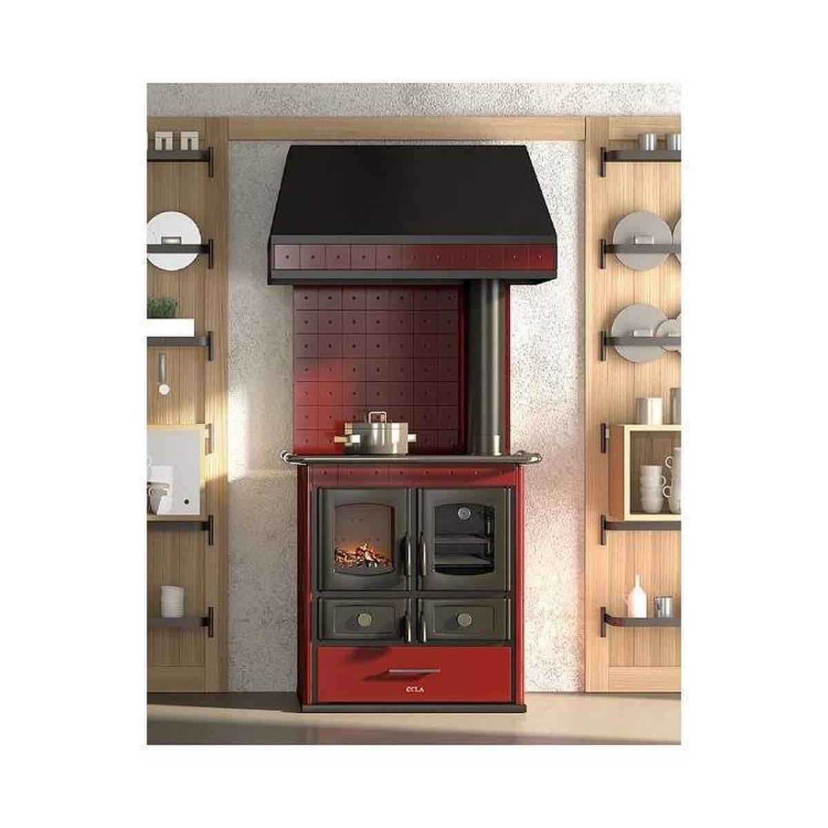 Cucina legna anselmo cola mini helena rustic 8kw in acciaio e frontale ceramica quaranta store - Stufe a legna per cucinare e riscaldare ...