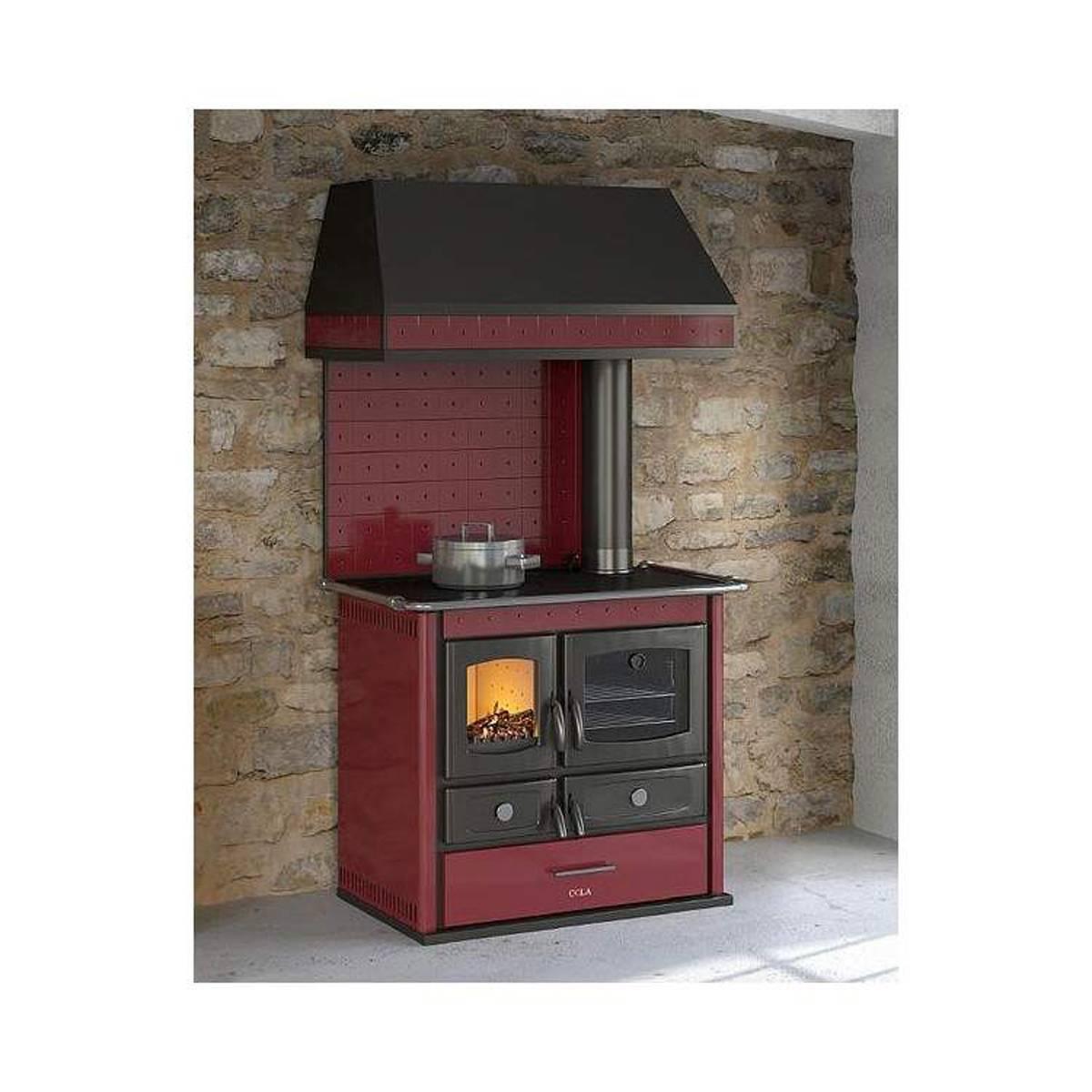 Cucina a legna idro anselmo cola termo helena rustic 14kw in acciaio e ceramica quaranta store - Stufe a legna cucina ...
