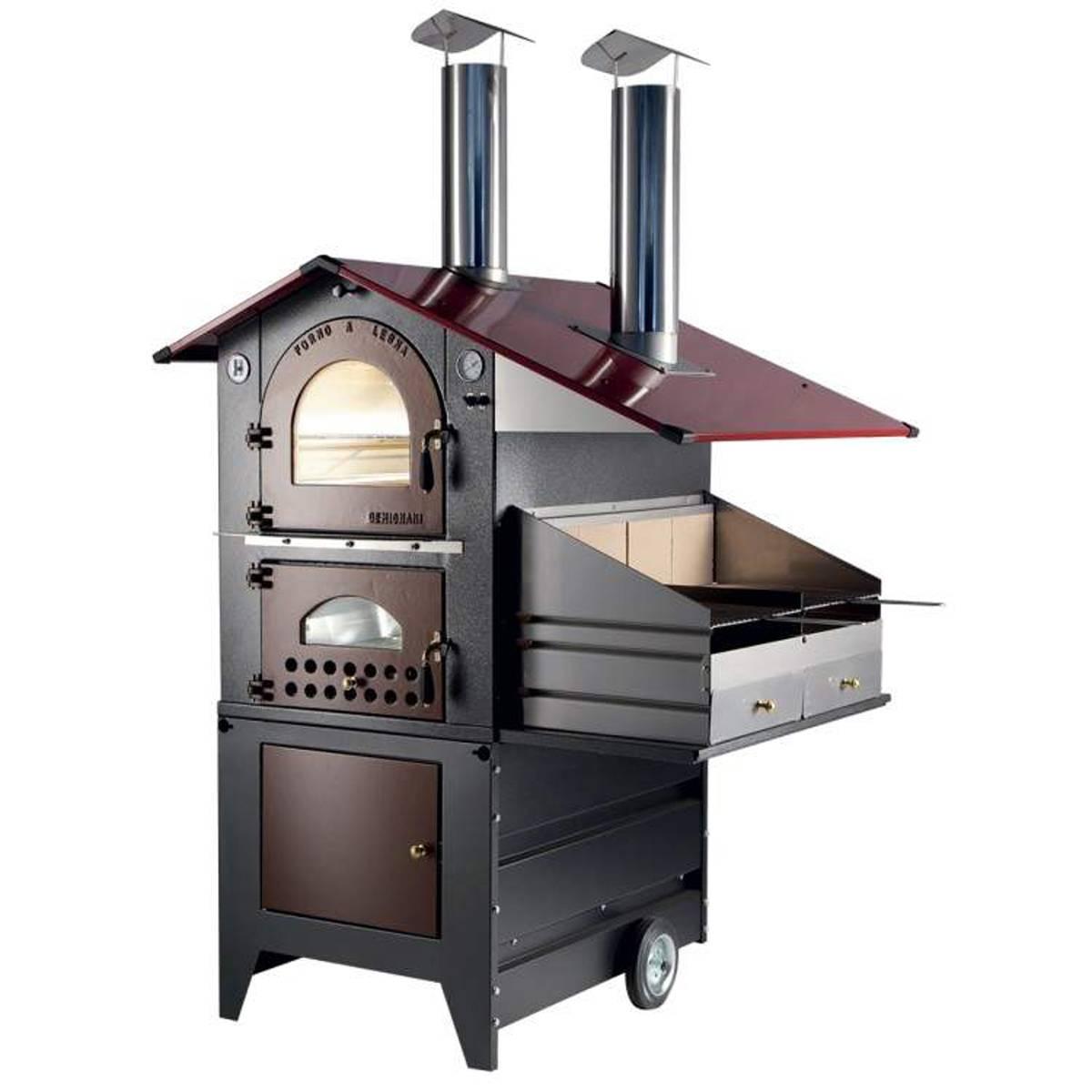 Forno a legna gemignani a fuoco indiretto da esterno mod - Barbecue da esterno ...