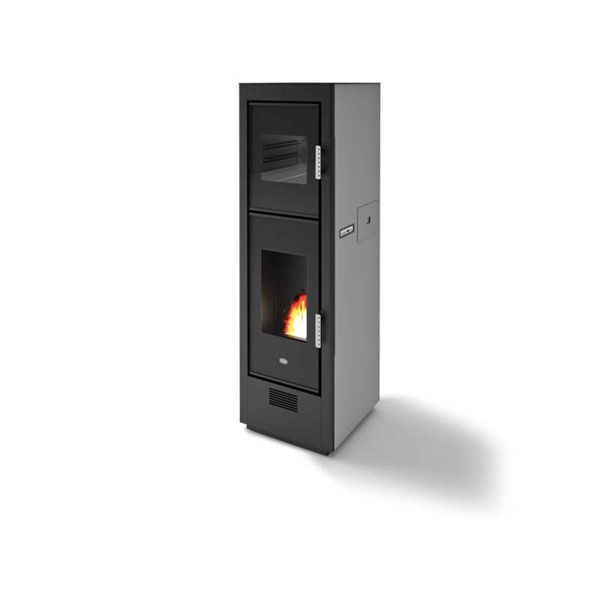 Stufa pellet eva cal r biscotto 8 5kw ventilata con forno in acciaio verniciato quaranta store - Stufa pellet con forno ...